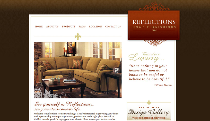 Reflections Home Furnishings Website