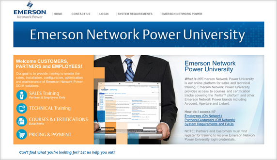 Emerson Network Power University Website Design